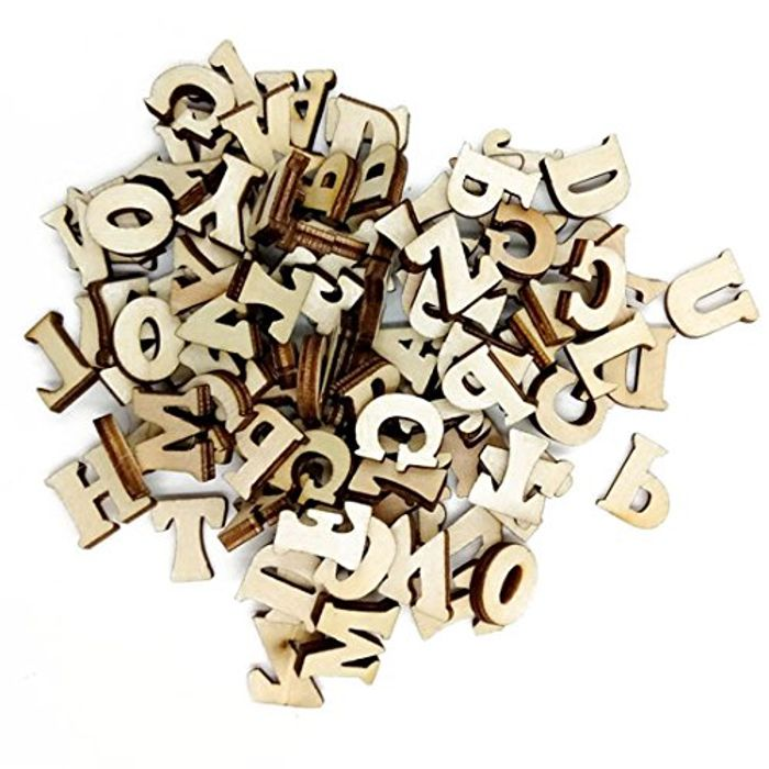 100 Pcs Alphabet Numbers Wood Scrapbooking