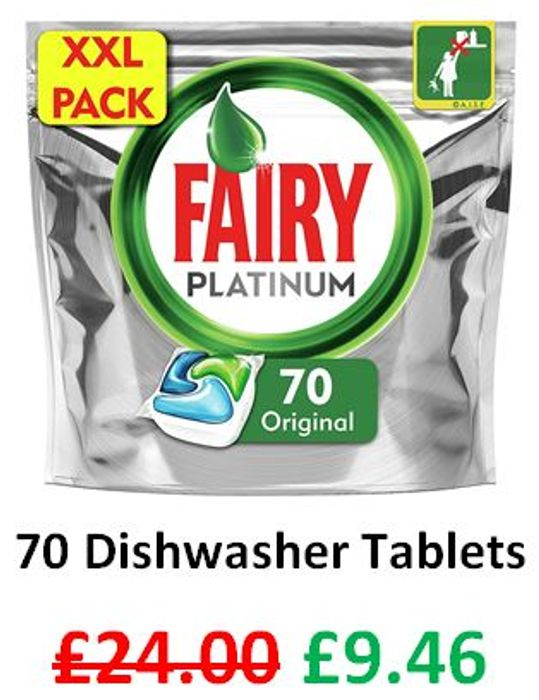 Fairy Platinum Dishwasher Tablets, 70 Tablets **4.8 STARS**