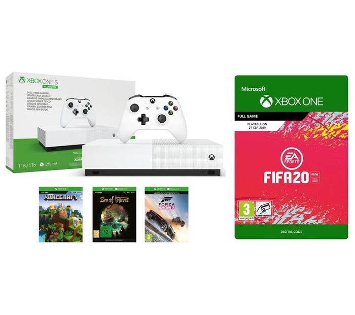 Xbox One S All-Digital with FIFA 20 Minecraft Forza 2 Sea of Thieves & LIVE Gold