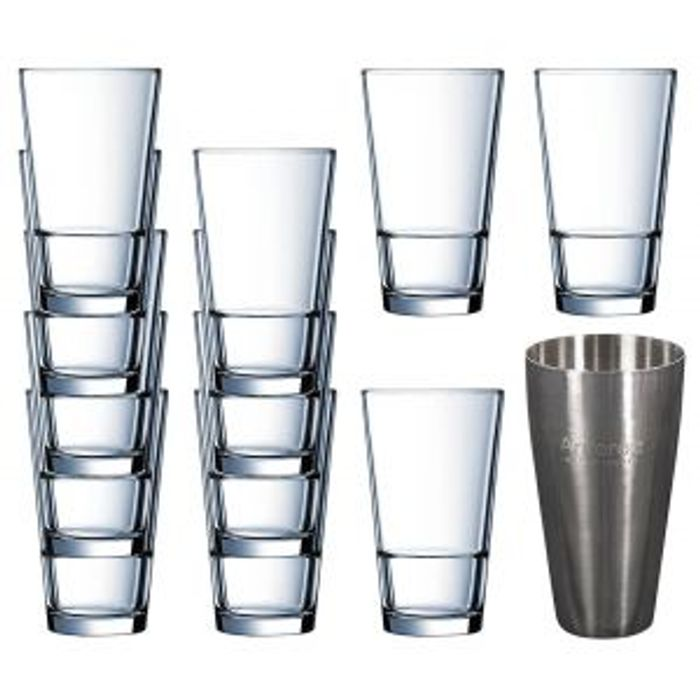 Arcoroc Cocktail Shaker & Highball Drinking Tumbler Glasses 16oz - X 12