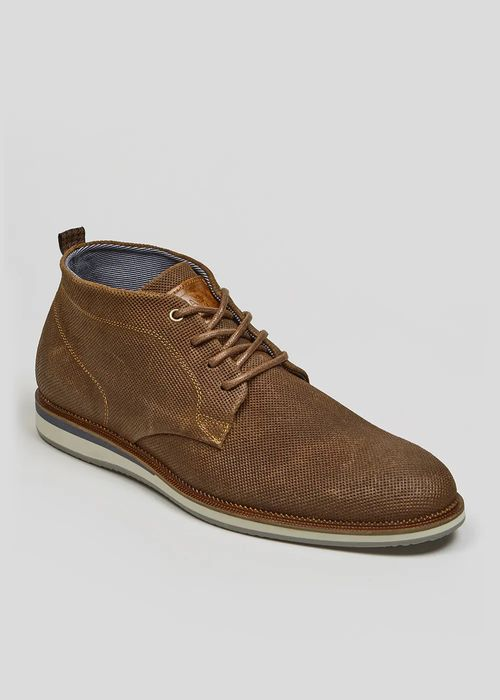 Mens Leather Perforated Desert Boots