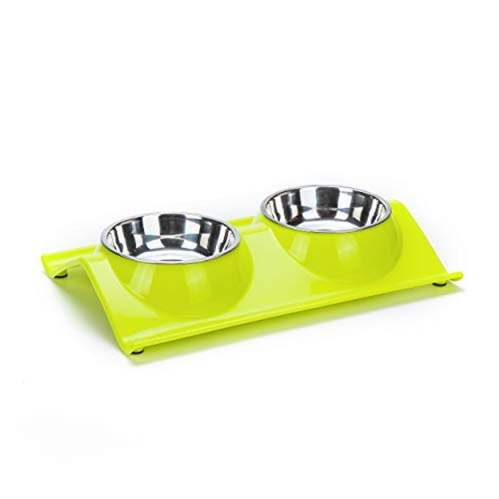 Non Slip Pet Dog Cat Elevated Feeder Bowl with Double Stainless Steel Bowls