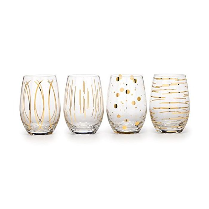 Etched Crystal Stemless Wine Glasses, 590 Ml Gold Effect (Set of 4)