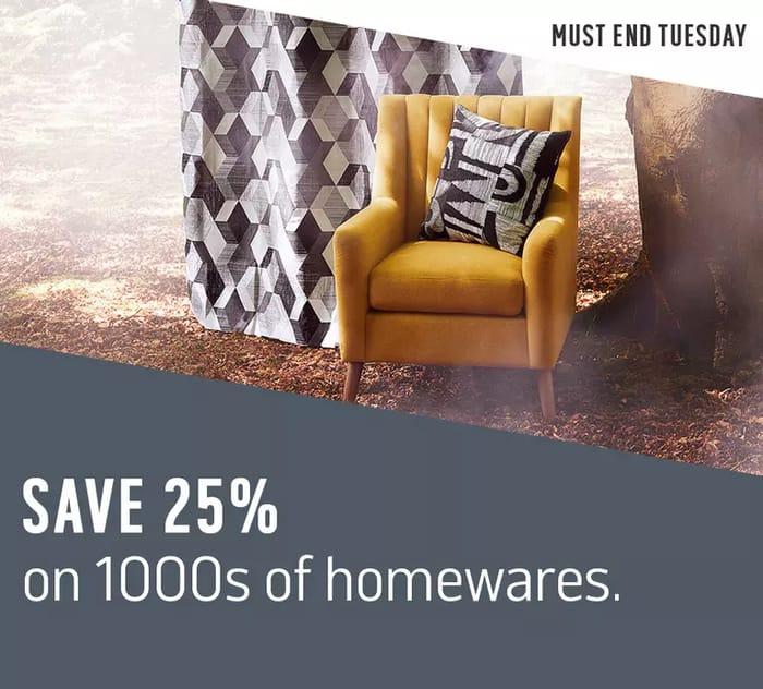 Save 25% on Homeware at Argos