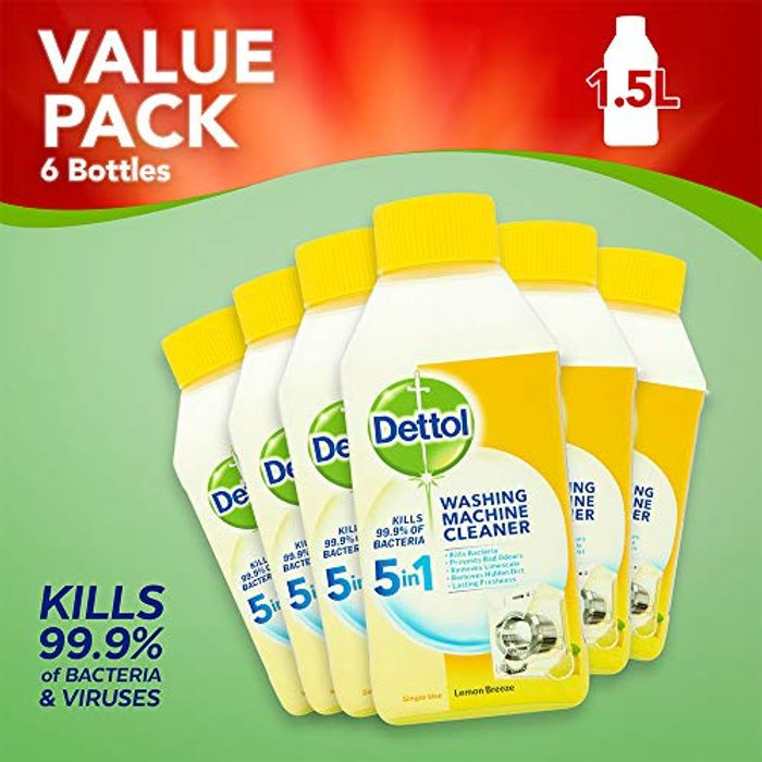 Dettol Washing Machine Cleaner Lemon Multipack, Pack of 6 X 250 Ml