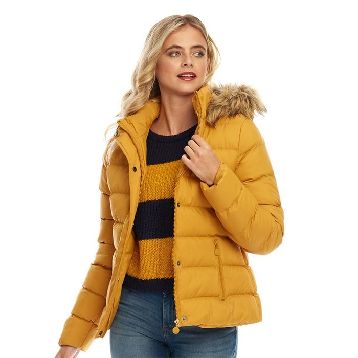 Fluid Womens Hooded Puffer Jacket Mustard