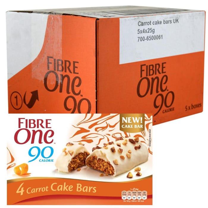 MEGA DEAL CASE PRICE Fibre One 90 Calorie Carrot Cake Bars 25g X 4 X 5