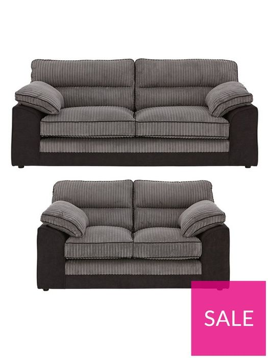 *SAVE £940* Delta 3 Seater + 2 Seater Fabric Sofa Set Chocolate or Charcoal