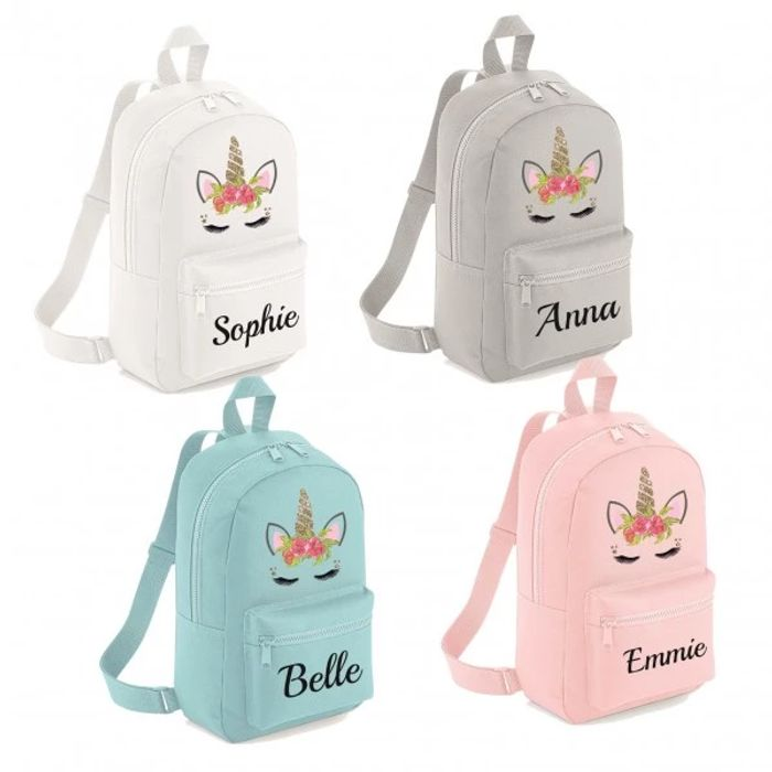 Personalised Unicorn Backpack Rucksack (Just Pay P&p £5.95)