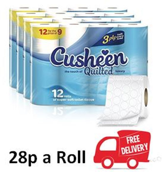 Best Price 60 Cusheen Quilted Luxury White 3 Ply Toilet Rolls - FREE DELIVERY