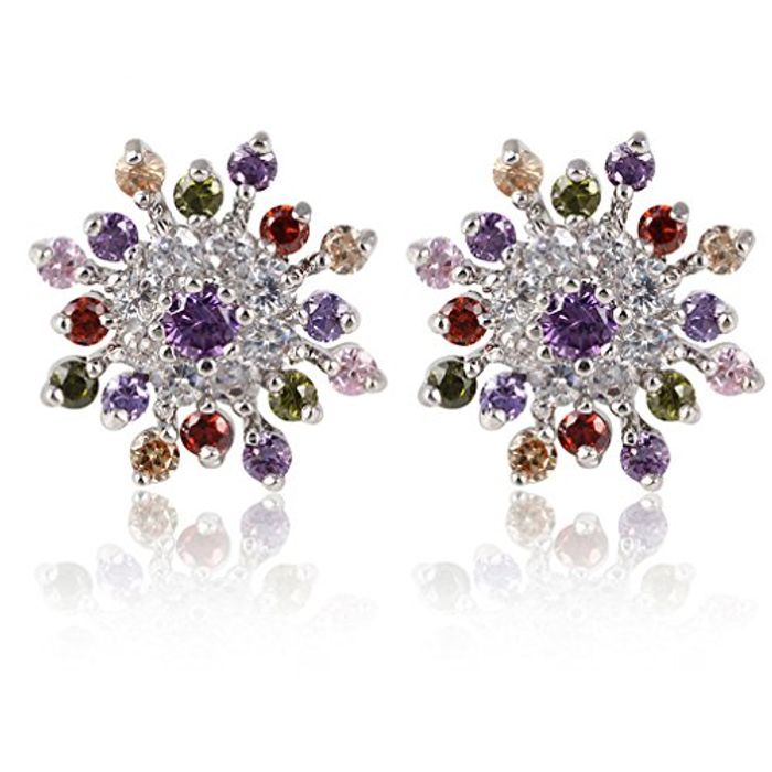 Rhodium Plated Colorful round Cut and Cubic Zirconia Snowflake Stud Earrings