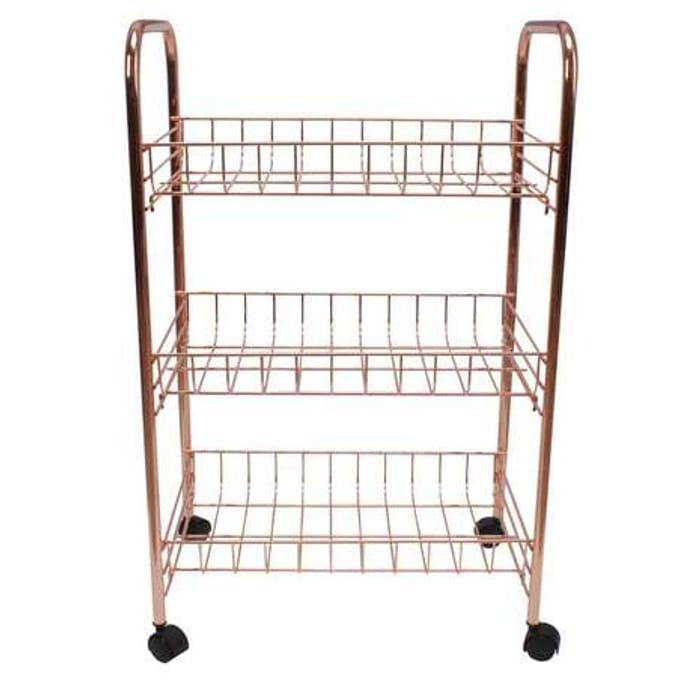 Copper Effect 3 Tier Storage Trolley