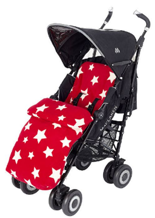 John Lewis & Partners Baby Multi Star Pushchair Footmuff, Red