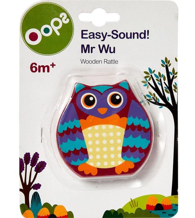 Wooden Mr Wu Owl Rattle