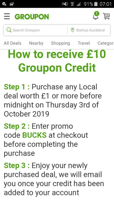 Free £10 for Spending as Little as £1