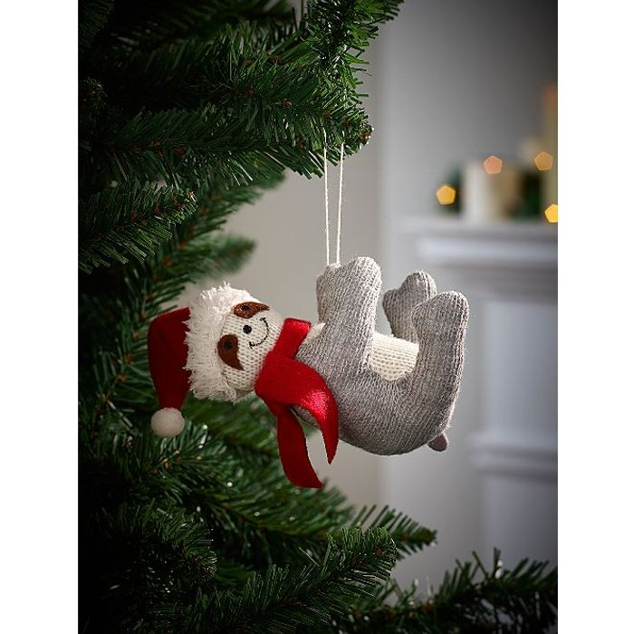 Festive Sloth Christmas Tree Bauble