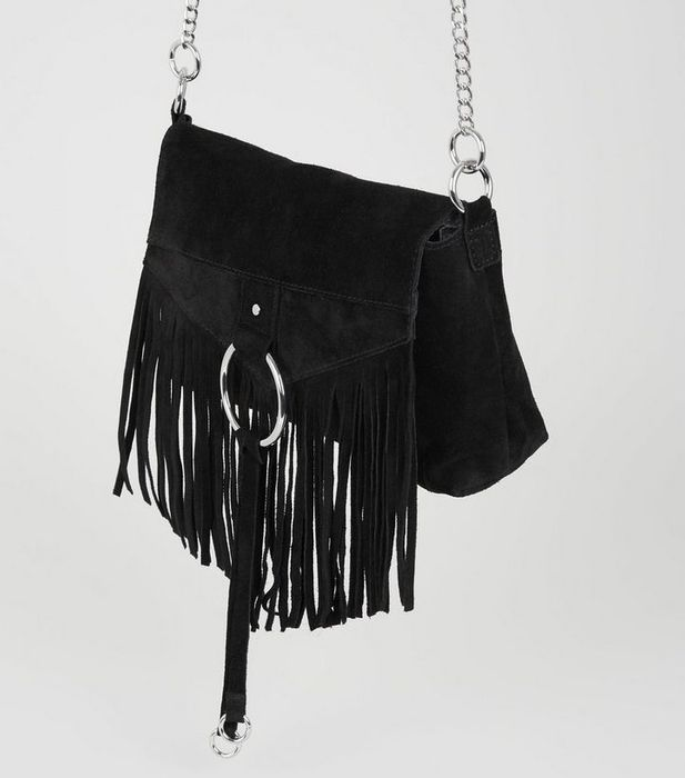 Black Suede Fringed Cross Body Bag - 58% Off