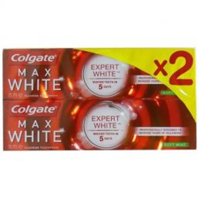 Colgate Max White Expert Soft Mint 75ml *2 Pack for ONLY £1