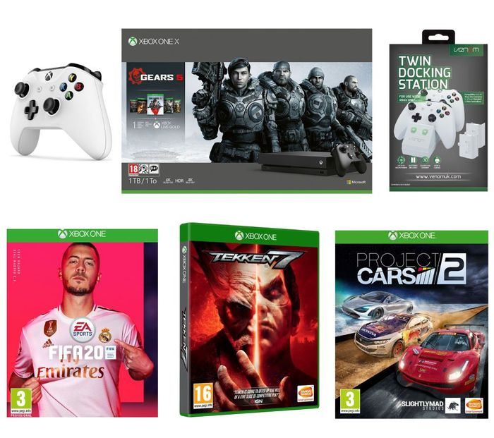 Xbox One X with Gears 5 FIFA 20, Tekken 7 Project Cars 2 Wireless Controller