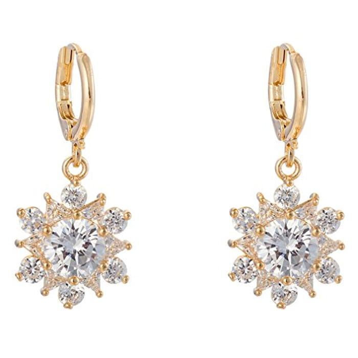 18K Gold Plated Cubic Zirconia Hoop Earrings