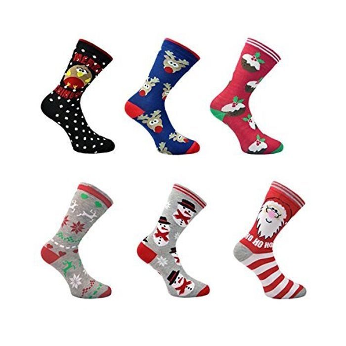 3x Pairs of Christmas Novelty Design Socks