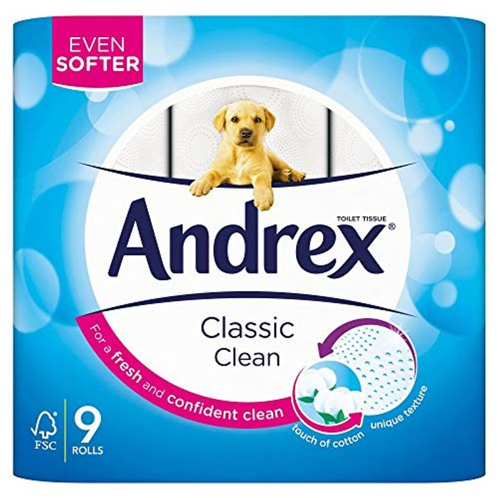 9 Andrex Classic Clean Toilet Rolls (Amazon Pantry)
