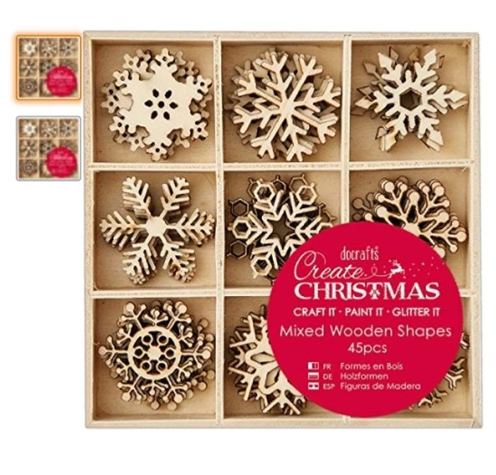 Docrafts Create Christmas 3cm Snowflakes Mixed Wooden Shapes (45 Pieces)