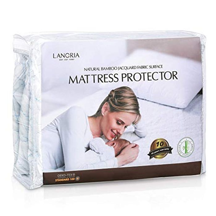 LANGRIA Hypoallergenic Bamboo Mattress Protector with Jacquard Fabric Surface,