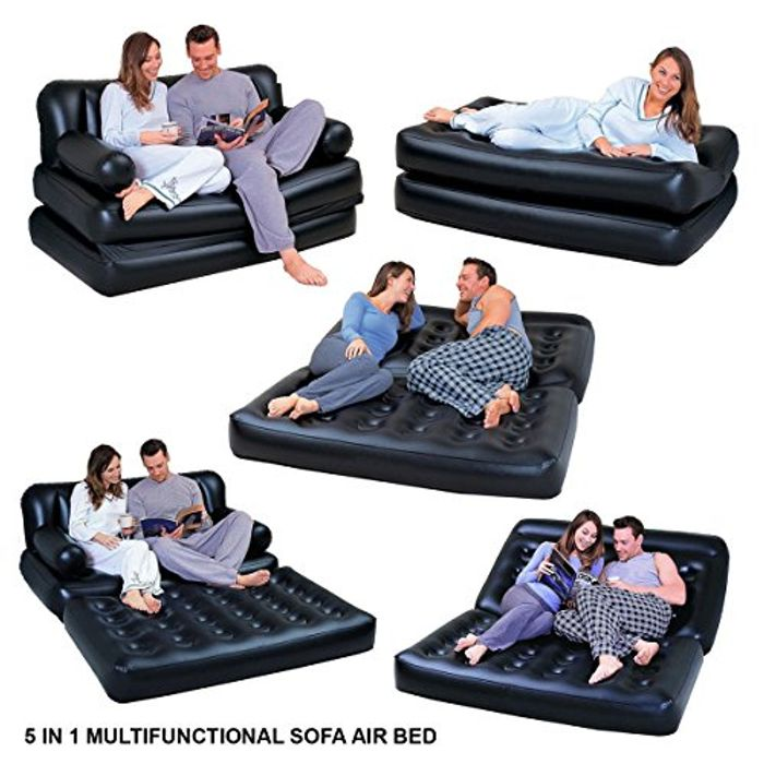 5 in 1 Inflatable Multi Function Double Air Bed Sofa Chair Couch Lounger Bed