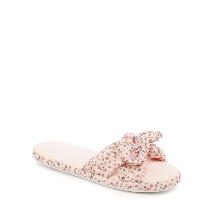 Lounge & Sleep - Pink Leopard Bow Slider Slippers