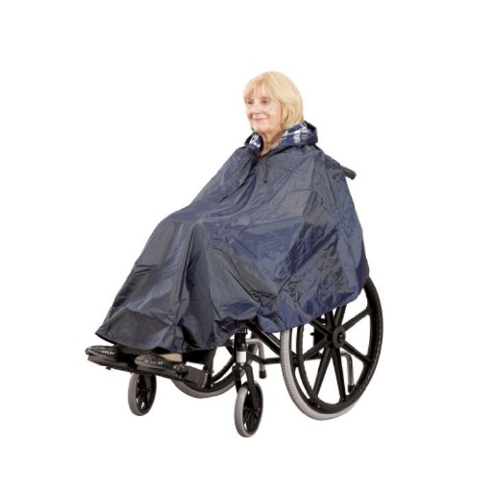 Homecraft Wheelchair Lined Poncho, Waterproof Poncho with Hood