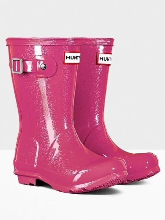 Hunter Original Little Kids Glitter Finish Wellington Boots Mosse Pink