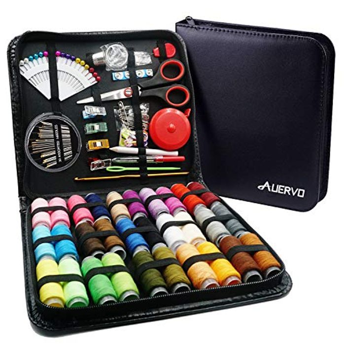Sewing Kit,AUERVO 116 Premium Sewing Supplies with PU Case - 53% Off!