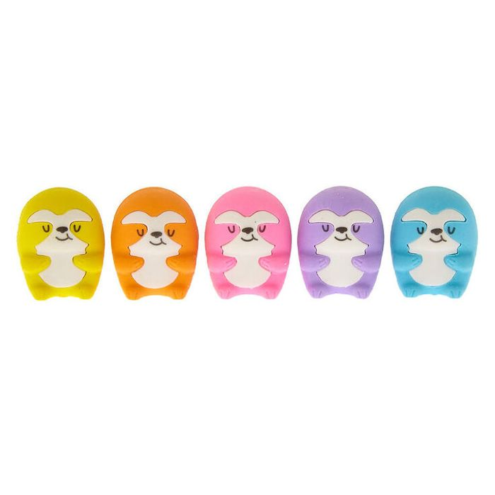 Rainbow Sloth Erasers - 5 Pack - 40% Off!