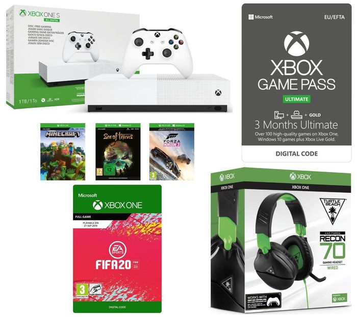 Xbox One S All-Digital Edition with FIFA 20, 3 Months Game Pass & Headset Bundle
