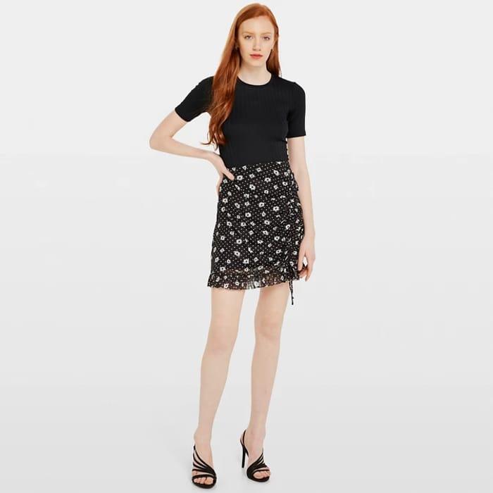 Women's Miss Selfridge Black Ruched Floral Mini Skirt - save £18