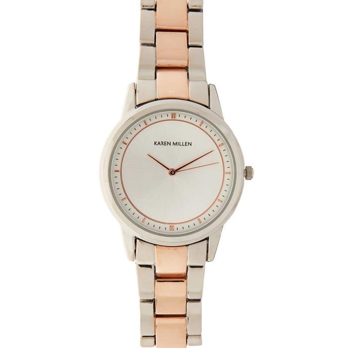 KAREN MILLEN Silver Tone & Rose Gold Watch