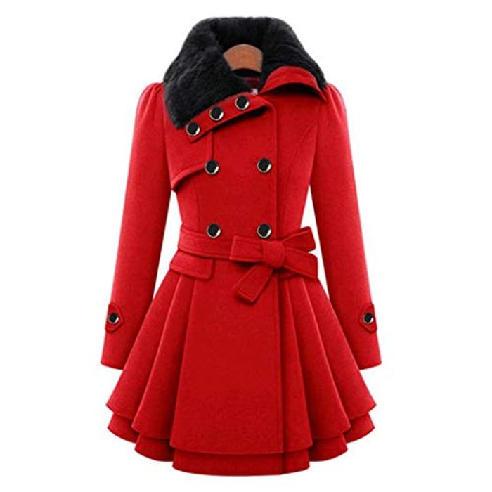 fatcatn Women Casual A-line Pleated Double Layers Hem Coat with 80% Discount