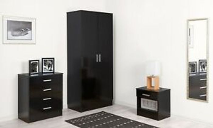 3 Piece Black or White Bedroom Set