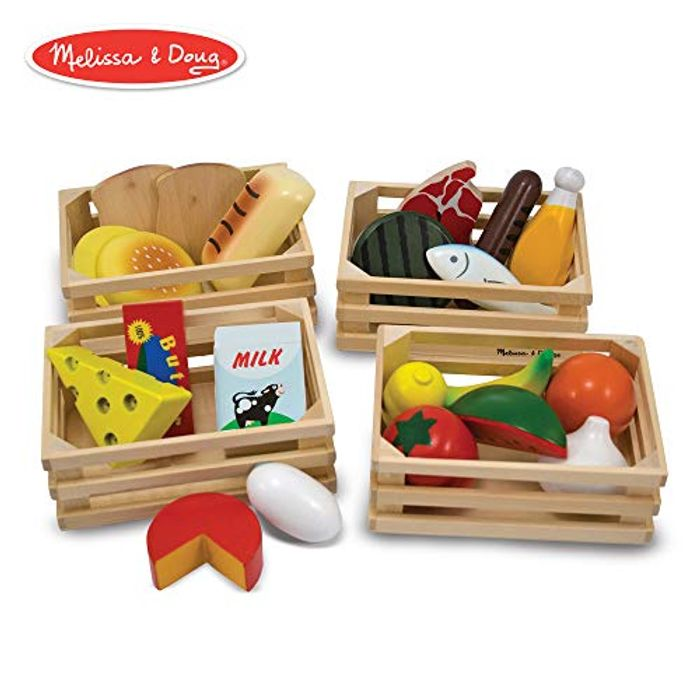 Melissa & Doug Wooden Play Food (21 Hand-Painted Wooden Pieces and 4 Crates)