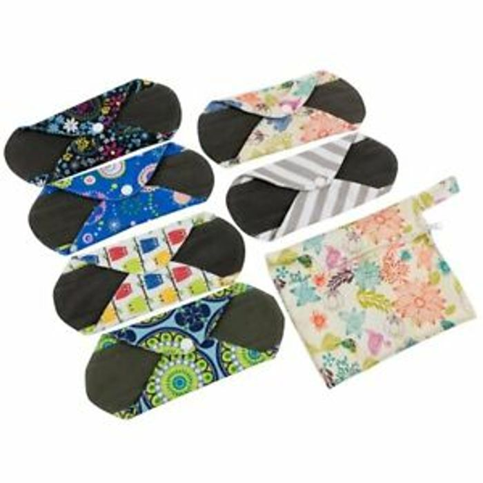 6X Asenappy Reusable Menstrual Pads Cloth Charcoal Bamboo - 57% Off!