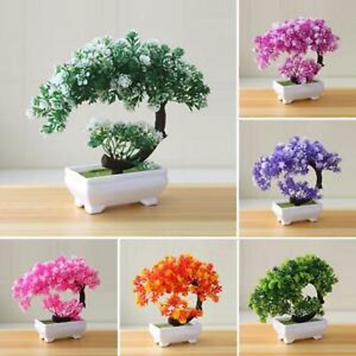 1Pc Artificial Plant Simulation Fake Potted Bonsai Tree Desk Ornament Home Decor