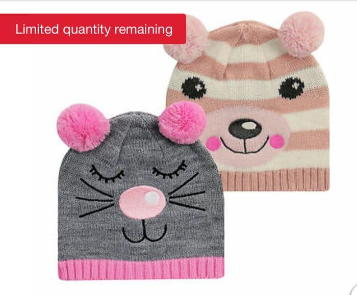 2 Pack Girls Novelty Animal Beanie Hat