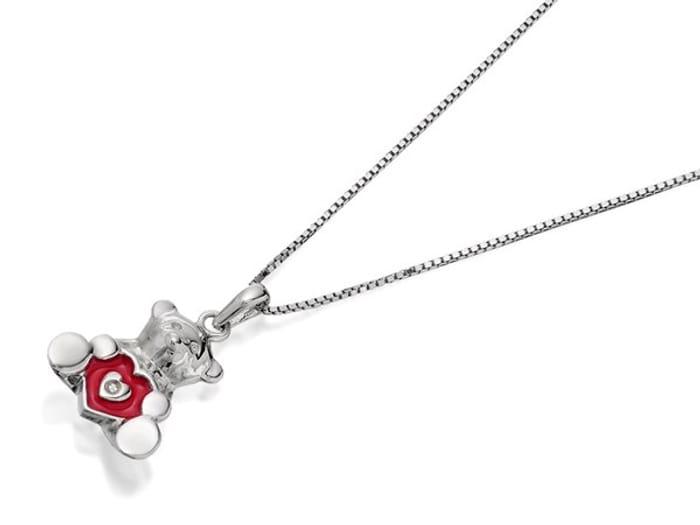 Best Price D for Diamond Silver Diamond Set Enamel Teddy Children's Necklace