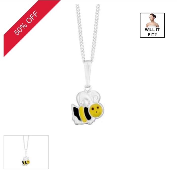 Childrens Silver Enamel Bee Pendant - HALF PRICE!