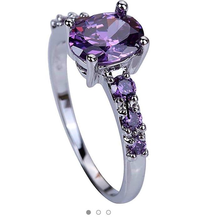 Purple Cubic Zircon Rings