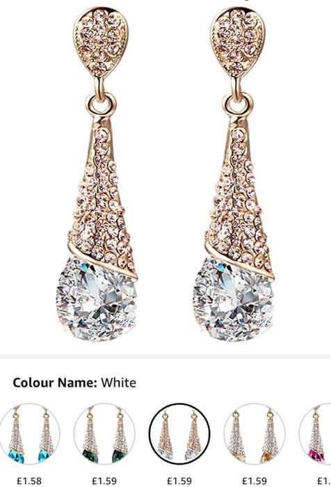 18 K Gold Plated Tear Drop Cubic Zirconia Earring