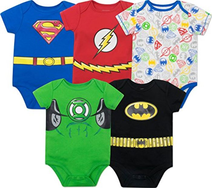 Justice League Baby Boys' 5 Pack Superhero Bodysuits