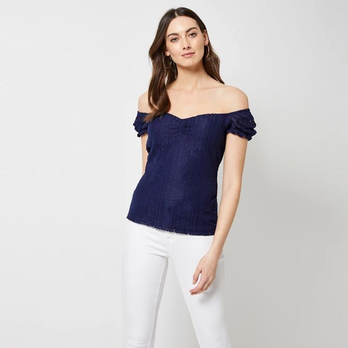 Women's Dorothy Perkins Navy Milkmaid Lace Top - save £15.60