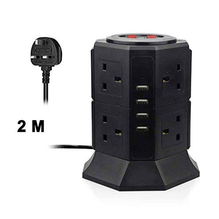 Tower Extension Lead Power Strip Tower 8 UK Sockets + 4 USB
